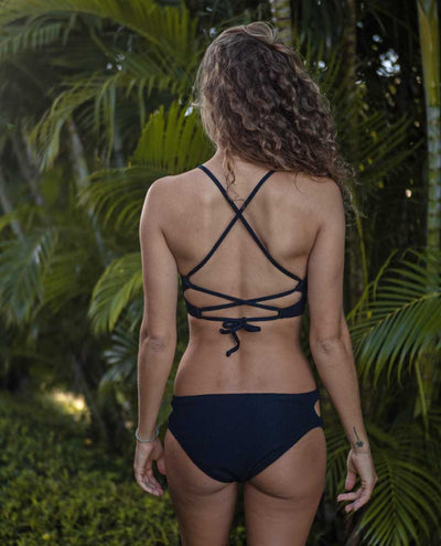 Emma Eco Friendly Full Bum Bikini Bottom - Black Ribbed