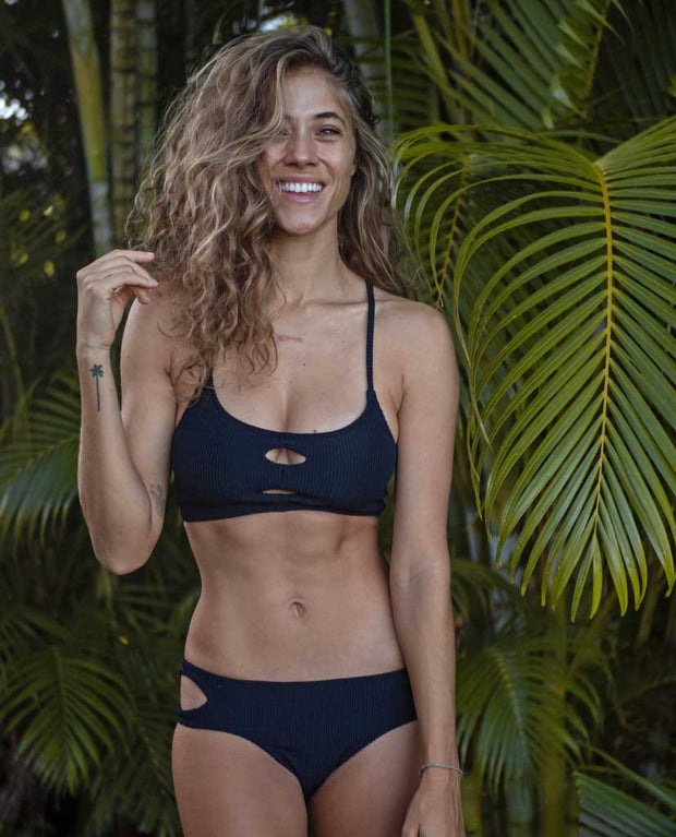 Claire Eco Friendly Adjustable Surf Bikini Top - Black Ribbed