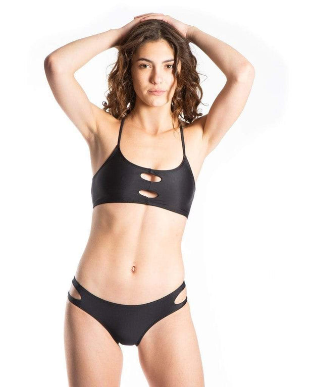 Sensi Graves Bikinis Bikini Bottom Full Coverage Emma Eco Friendly Full Bum Bikini Bottom - Black