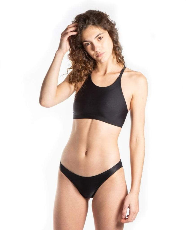 Sensi Graves Bikinis Bikini Bottom Full Coverage Lindsy Eco Friendly Stay Put Moderate Bikini Bottom - Black