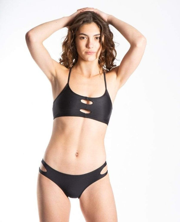 Claire Eco Friendly Adjustable Surf Bikini Top - Black