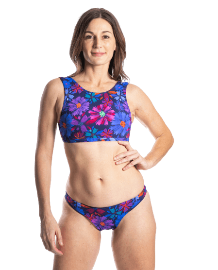 Sensi Graves Bikinis Bikini Top High Neck Bloom/Deep / small Sofi Eco Friendly Reversible High Neck Top -Bloom/Deep