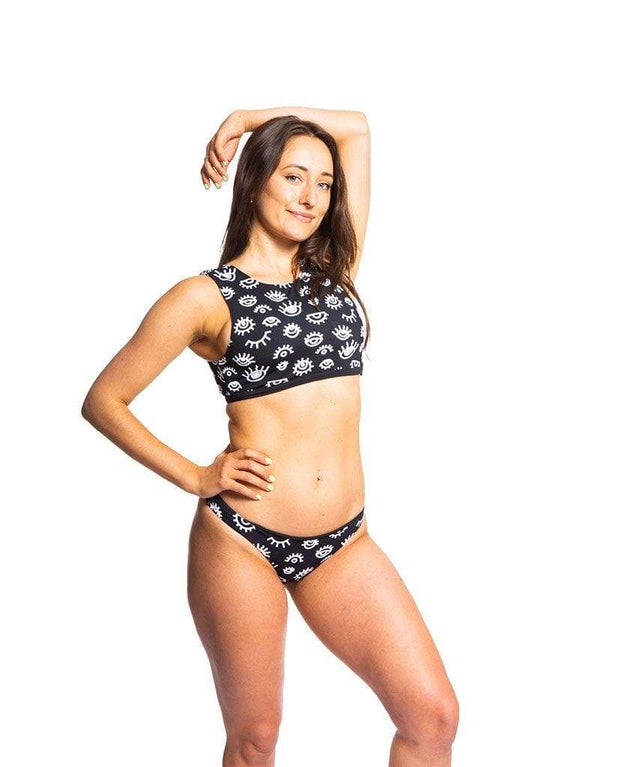 Sensi Graves Bikinis Bikini Top High Neck Third Eye/Black / small Sofi Eco Friendly Reversible High Neck Top - Third Eye/Black