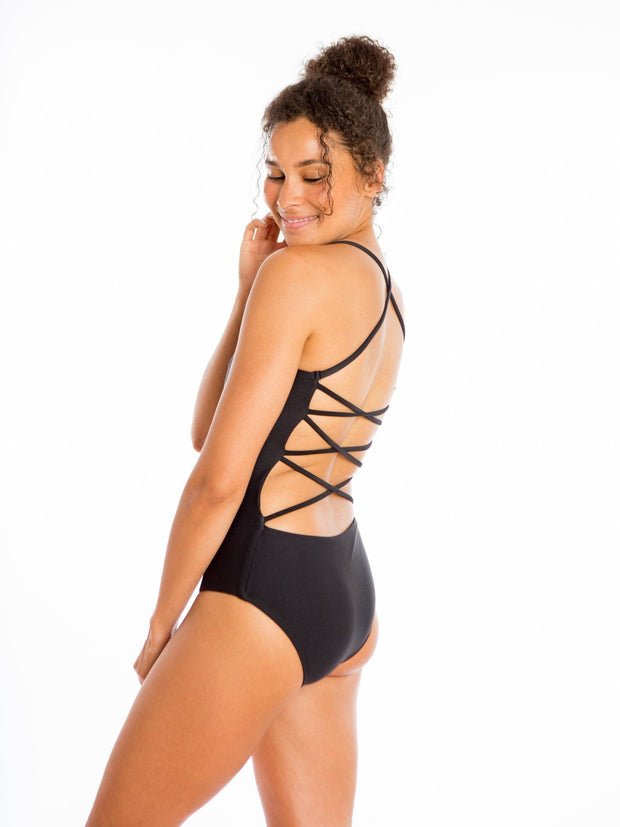 Sensi Graves Bikinis One Piece Olivia Eco Friendly Strap Back Classic One Piece - Black