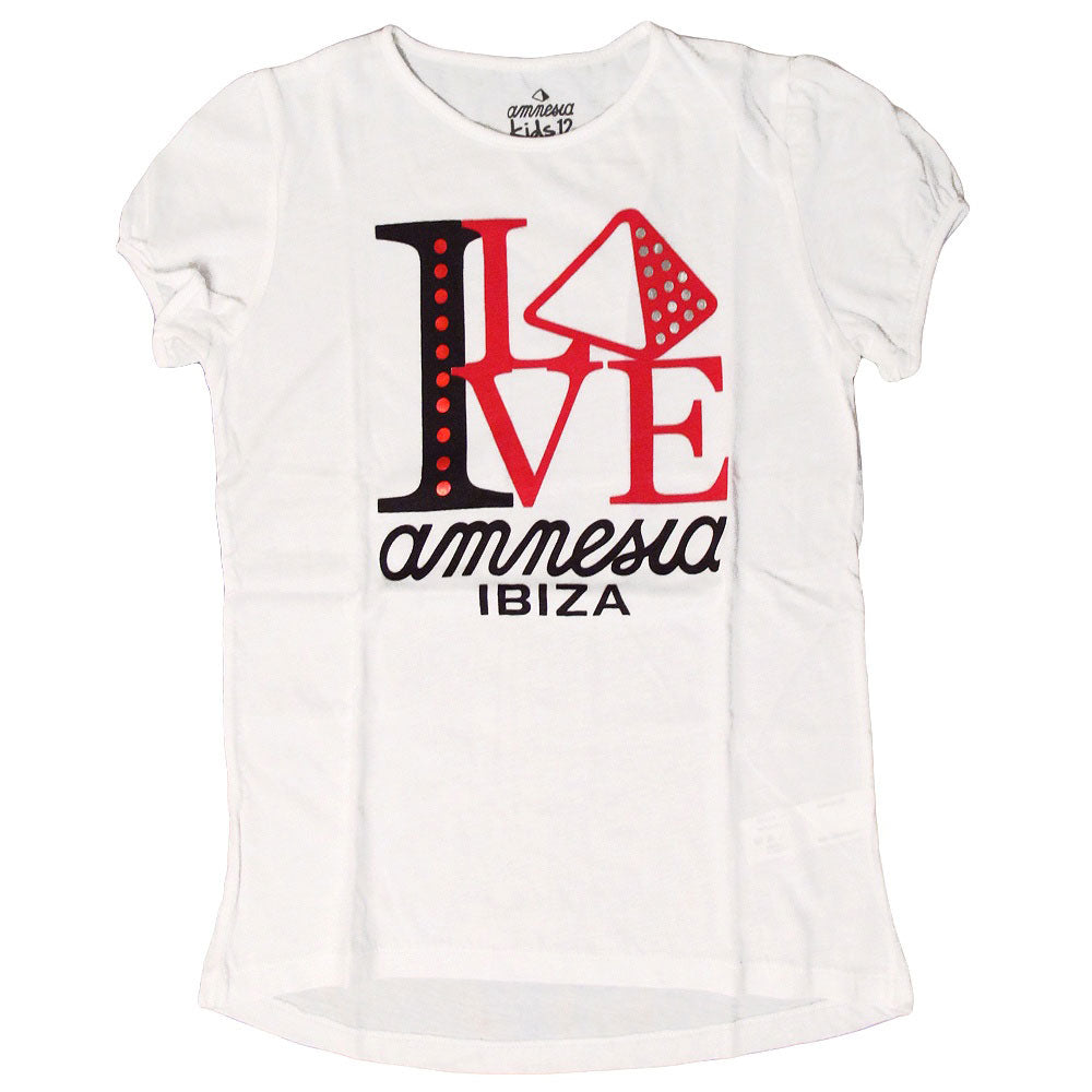 Amnesia Ibiza I Love Amnesia Kids Girls White T-shirt