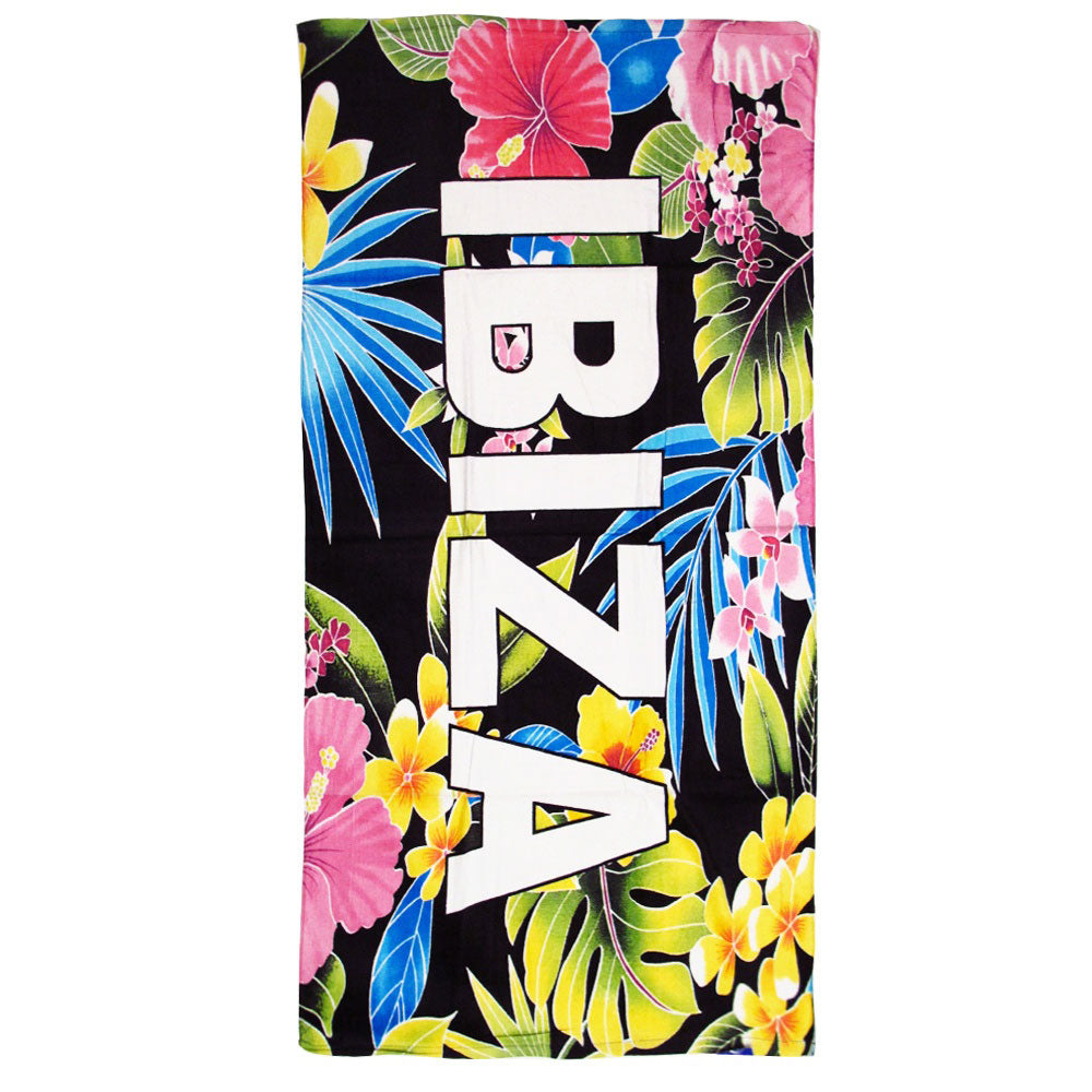 Love Ibiza Tropical Flowers Beach Towel