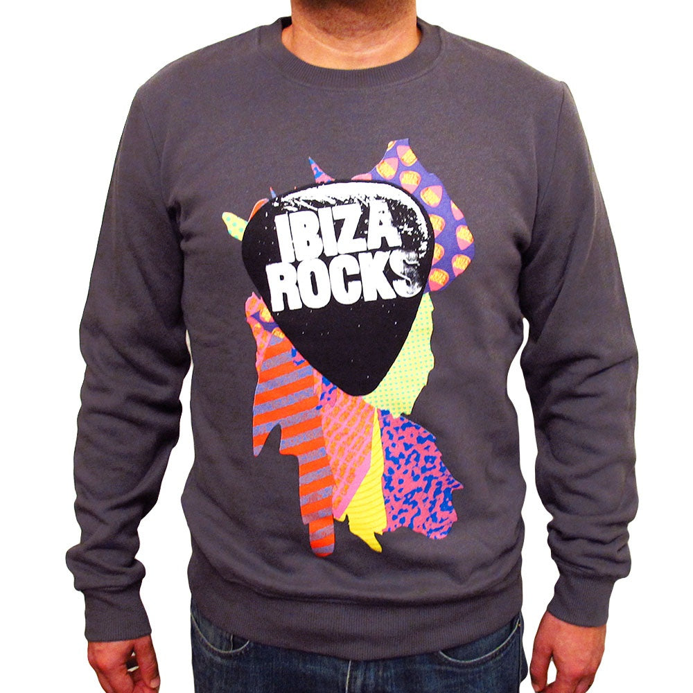 Ibiza Rocks Charcoal Sweater with Colour Splash Logo