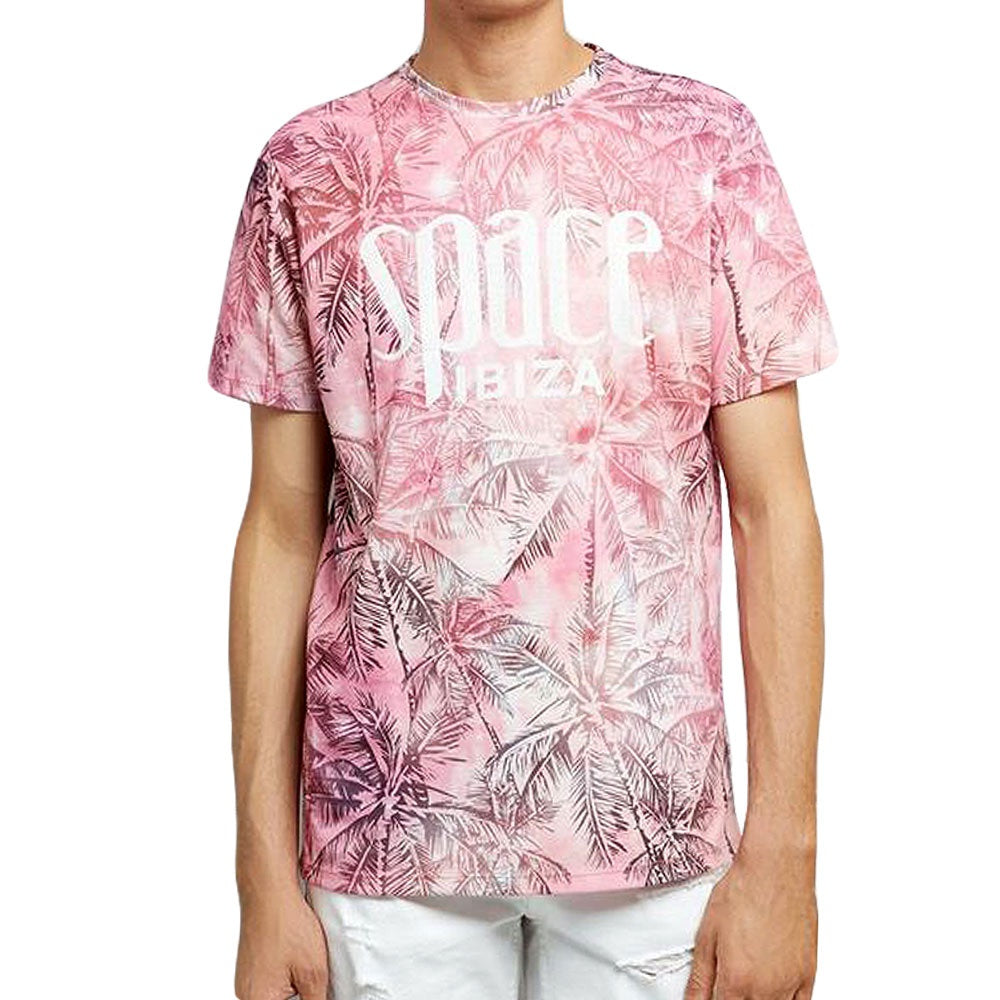 Space Ibiza Allover Palms Mens Pink T-Shirt