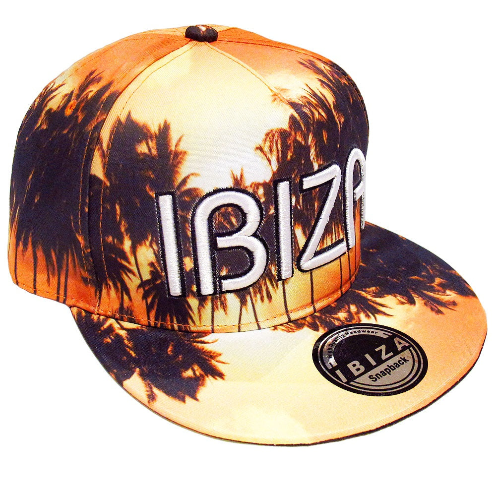 Ibiza Sunrise Palms Orange Snapback Cap