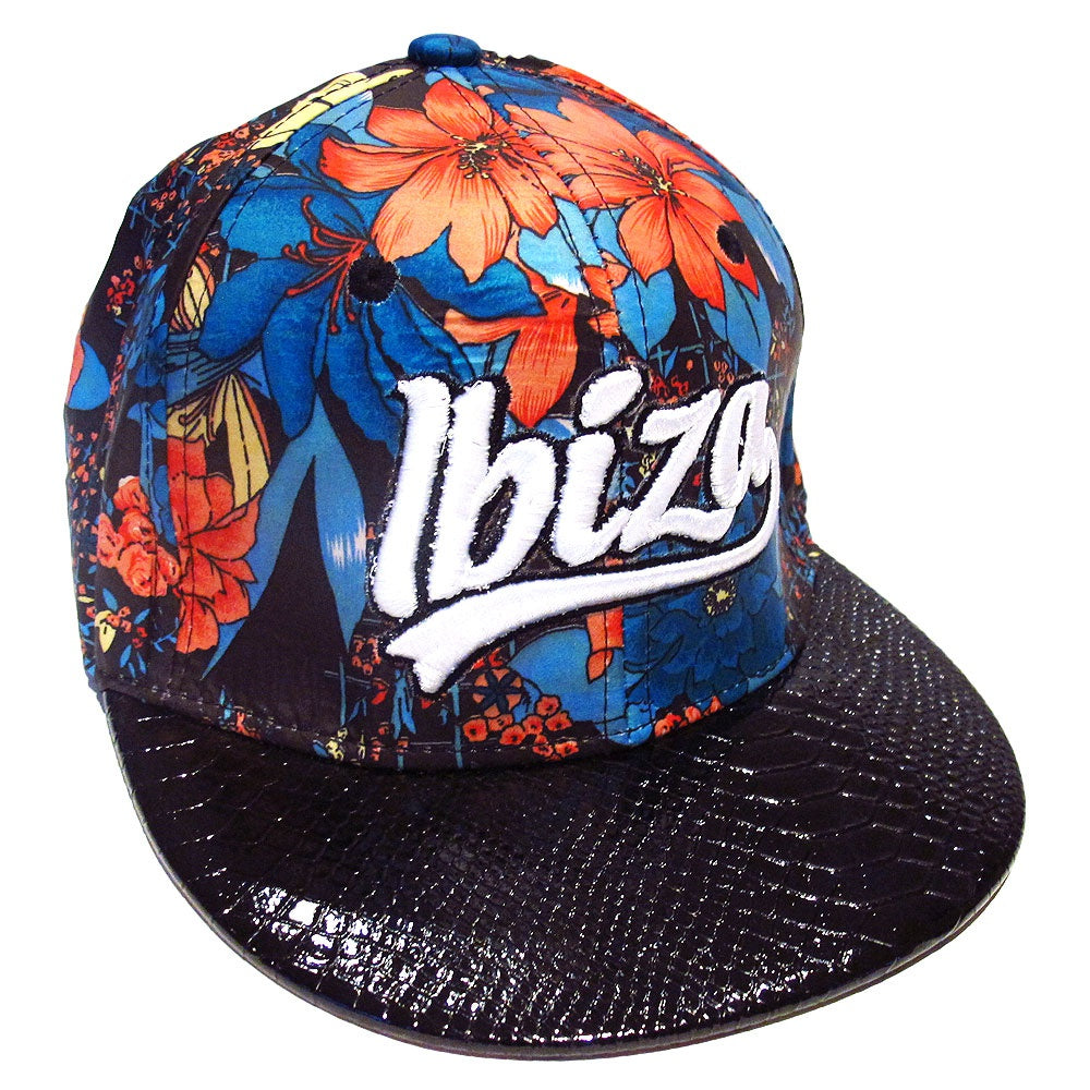 Ibiza Red Flowers Snapback Cap