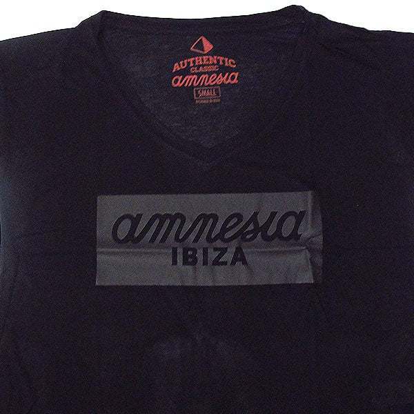 Amnesia Ibiza Women's T-shirt with Leather Look Logo