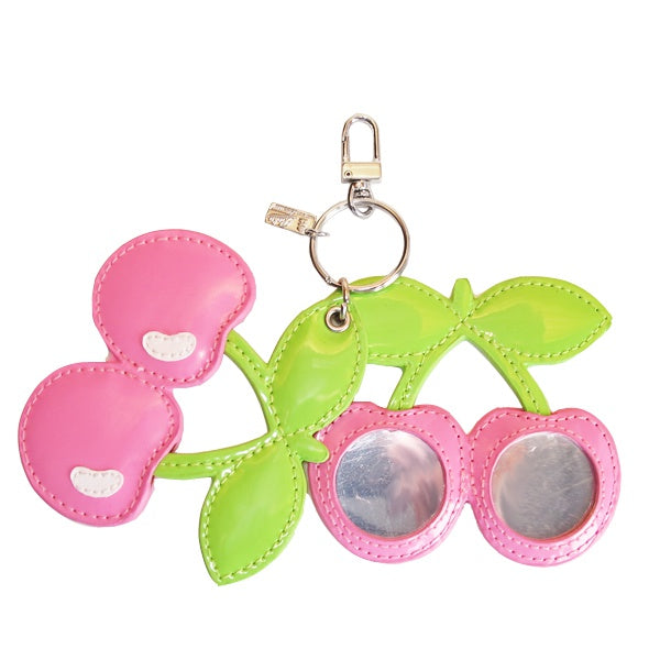 Pacha Pink Cherry Charm Keyring with Compact Mirror