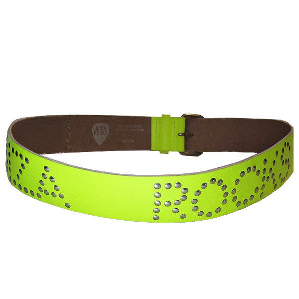 Ibiza Rocks Neon Yellow Studded Leather Belt