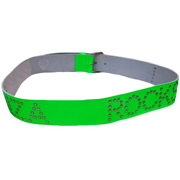 Ibiza Rocks Neon Green Studded Leather Belt