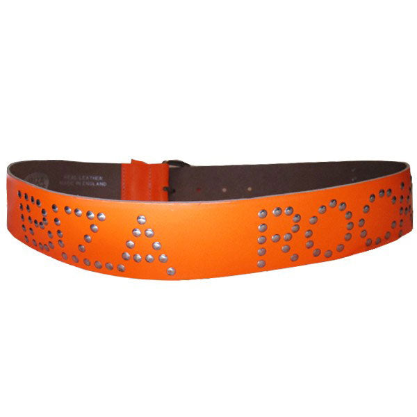 Ibiza Rocks Neon Orange Studded Leather Belt