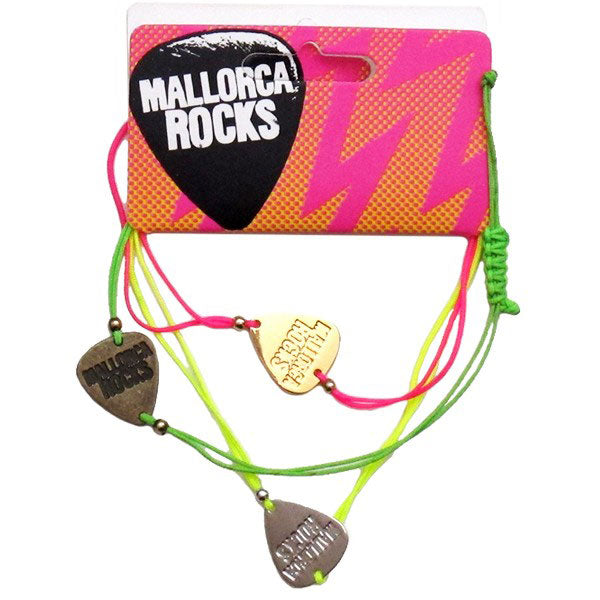 Mallorca Rocks Plectrum String Bracelet 3 Pack