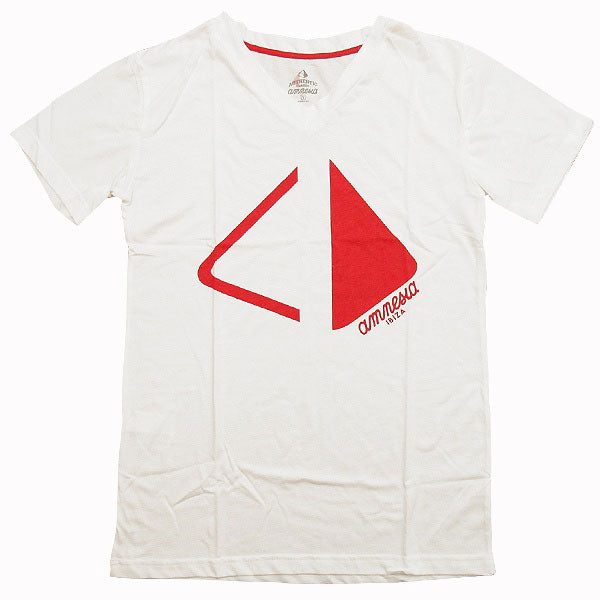 Amnesia Ibiza Pyramid Cut Men's White V-Neck T-shirt