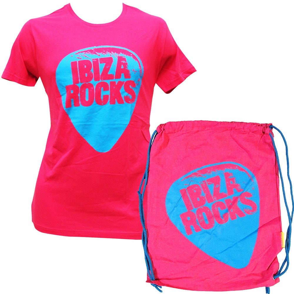 Ibiza Rocks Rosa Plektrum T-Shirt mit Turnbeutel