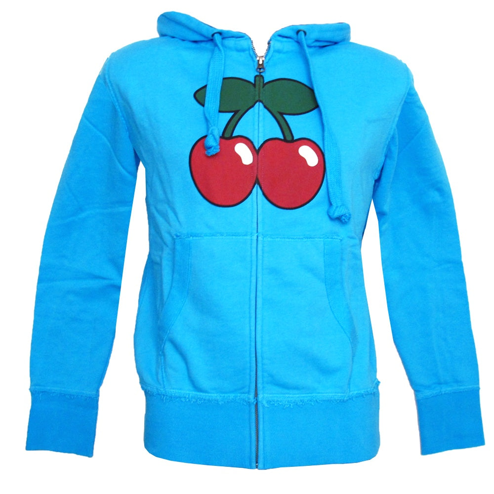 Pacha Cherry Logo Men's Turquoise Zip up Hoodie