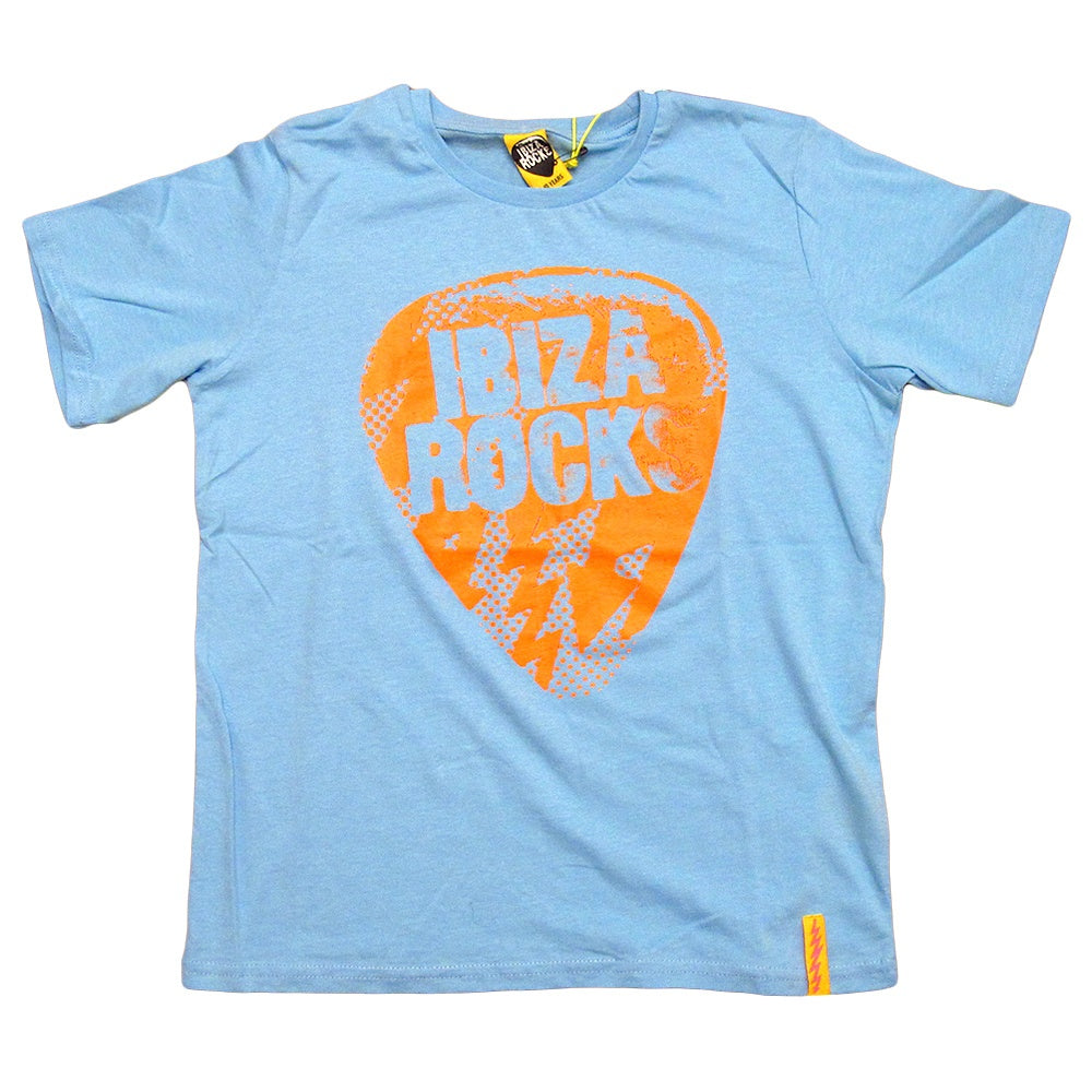 Ibiza Rocks Neon Orange Bolt Plectrum Kids T-shirt