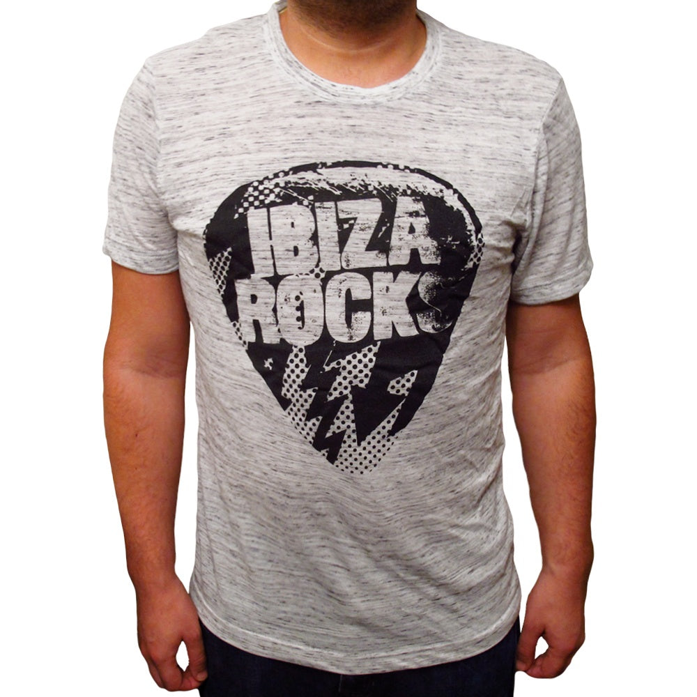 Ibiza Rocks Grey Marbled Men's Logo T-Shirt