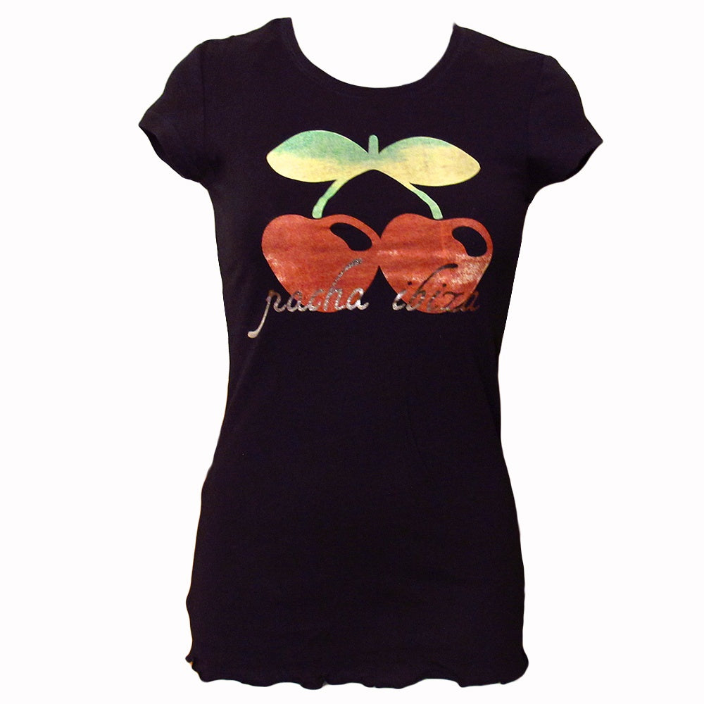 Pacha Watercolour Cherry Women's Black T-Shirt