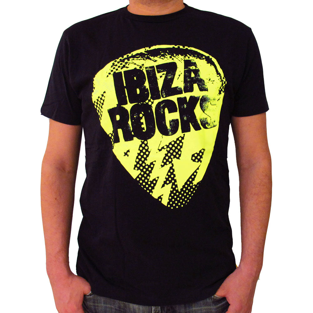 Ibiza Rocks Neon Yellow Bolt Plectrum Men's T-Shirt