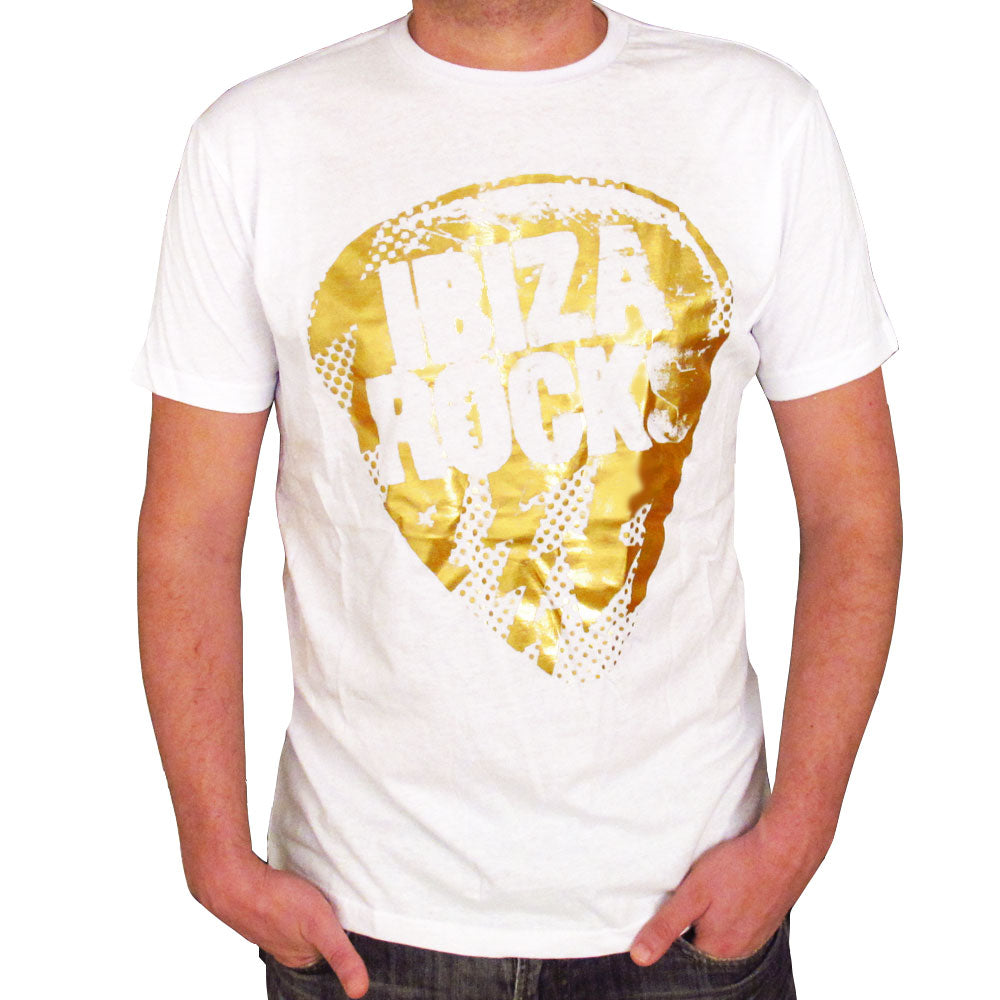 Ibiza Rocks Gold Bolt Plectrum Mens T-Shirt