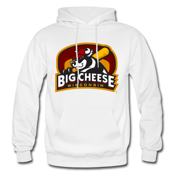 Wisconsin Big Cheese Heavy Blend Adult Hoodie - white