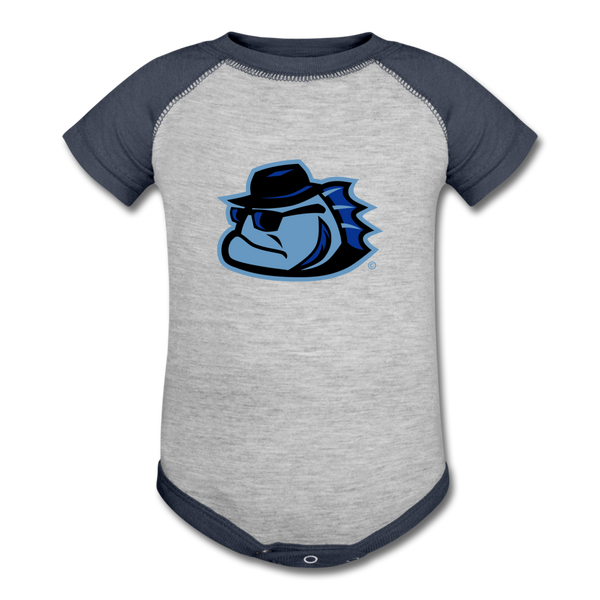 Chicago Bluesfish Baby Bodysuit - heather gray/navy