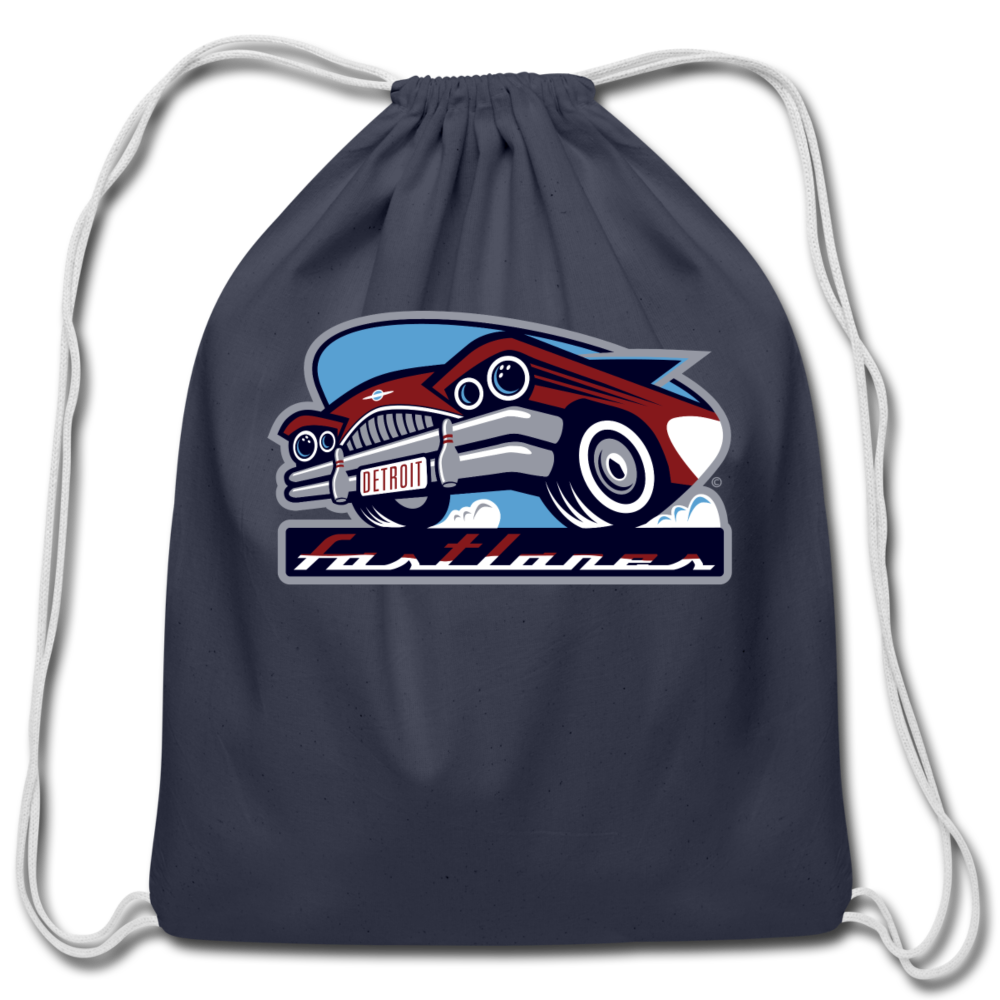Detroit Fastlanes Cotton Drawstring Bag - navy
