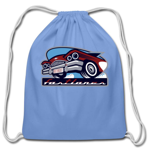 Detroit Fastlanes Cotton Drawstring Bag - carolina blue