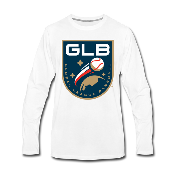 Global League Baseball Men's Long Sleeve T-Shirt - white