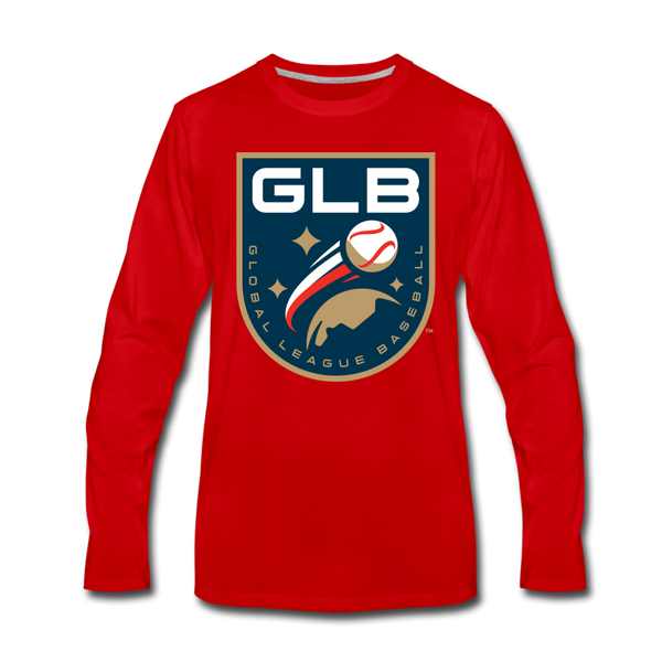 Global League Baseball Men's Long Sleeve T-Shirt - red