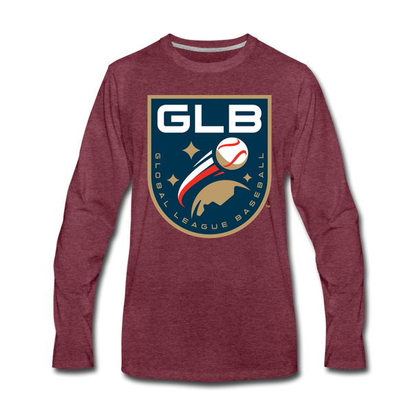 Global League Baseball Men's Long Sleeve T-Shirt - heather burgundy