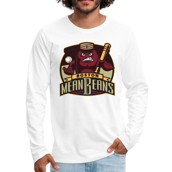 Boston Mean Beans Men's Long Sleeve T-Shirt - white
