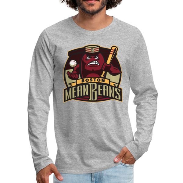 Boston Mean Beans Men's Long Sleeve T-Shirt - heather gray