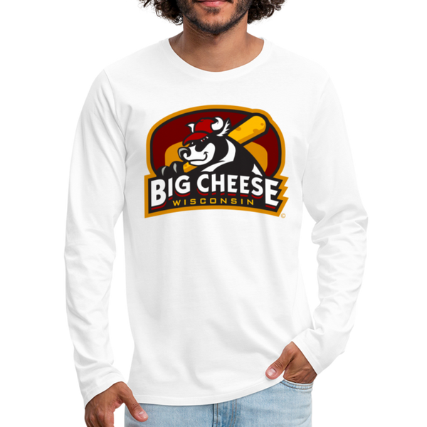 Wisconsin Big Cheese Men's Long Sleeve T-Shirt - white