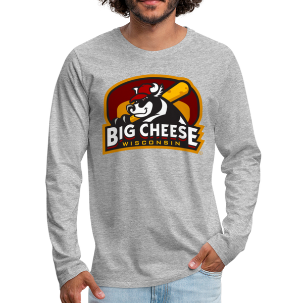 Wisconsin Big Cheese Men's Long Sleeve T-Shirt - heather gray