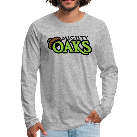 Mighty Oaks of Connecticut Wordmark Men's Long Sleeve T-Shirt - heather gray