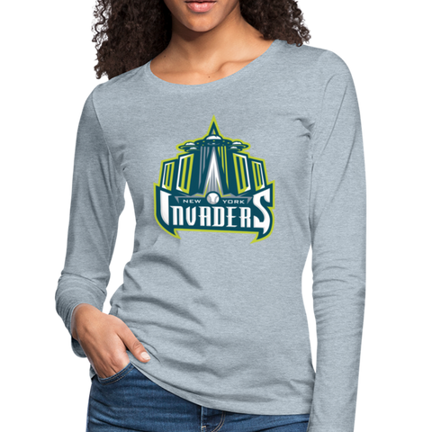 New York Invaders Women's Long Sleeve T-Shirt - heather ice blue