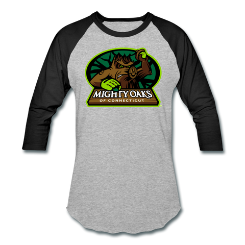 Mighty Oaks of Connecticut Unisex Baseball T-Shirt - heather gray/black