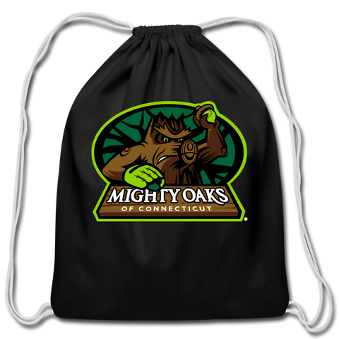 Mighty Oaks of Connecticut Cotton Drawstring Bag - black