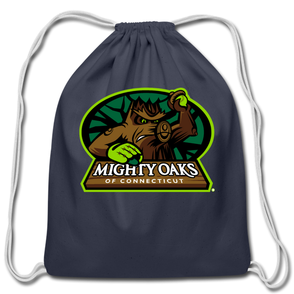 Mighty Oaks of Connecticut Cotton Drawstring Bag - navy