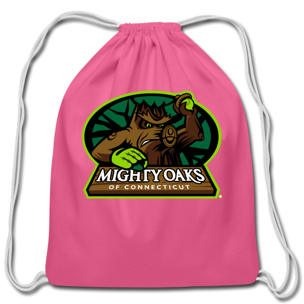 Mighty Oaks of Connecticut Cotton Drawstring Bag - pink