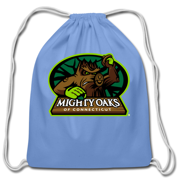 Mighty Oaks of Connecticut Cotton Drawstring Bag - carolina blue