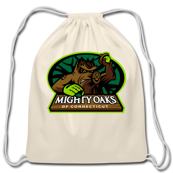 Mighty Oaks of Connecticut Cotton Drawstring Bag - natural