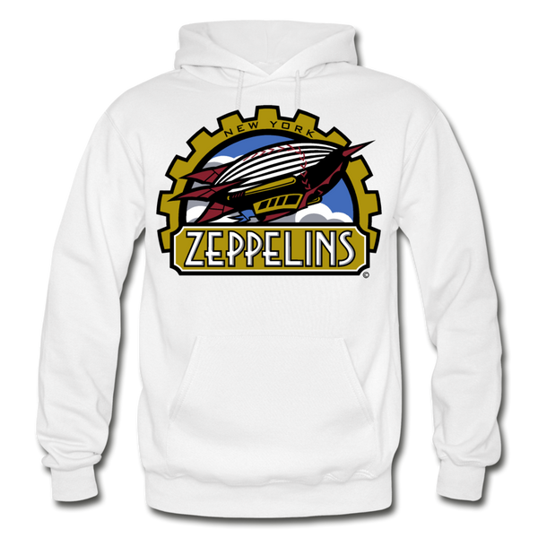 New York Zeppelins Heavy Blend Adult Hoodie - white