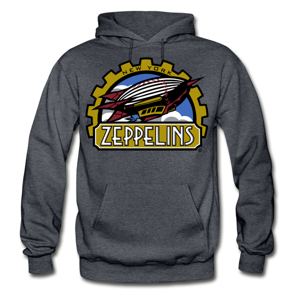New York Zeppelins Heavy Blend Adult Hoodie - charcoal gray