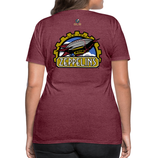 New York Zeppelins Women's Premium T-Shirt - heather burgundy
